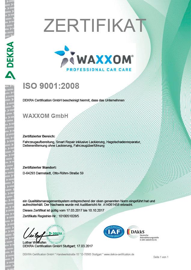 ISO Zertifizierung › WAXXOM Professional Car Care